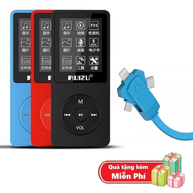 ( Quà tặng Dây sạc điện thoại đa năng ) Máy nghe nhạc mp3 Ruizu X02 bộ nhớ trong 8G hỗ trợ thẻ nhớ lên đến 64G cao cấp