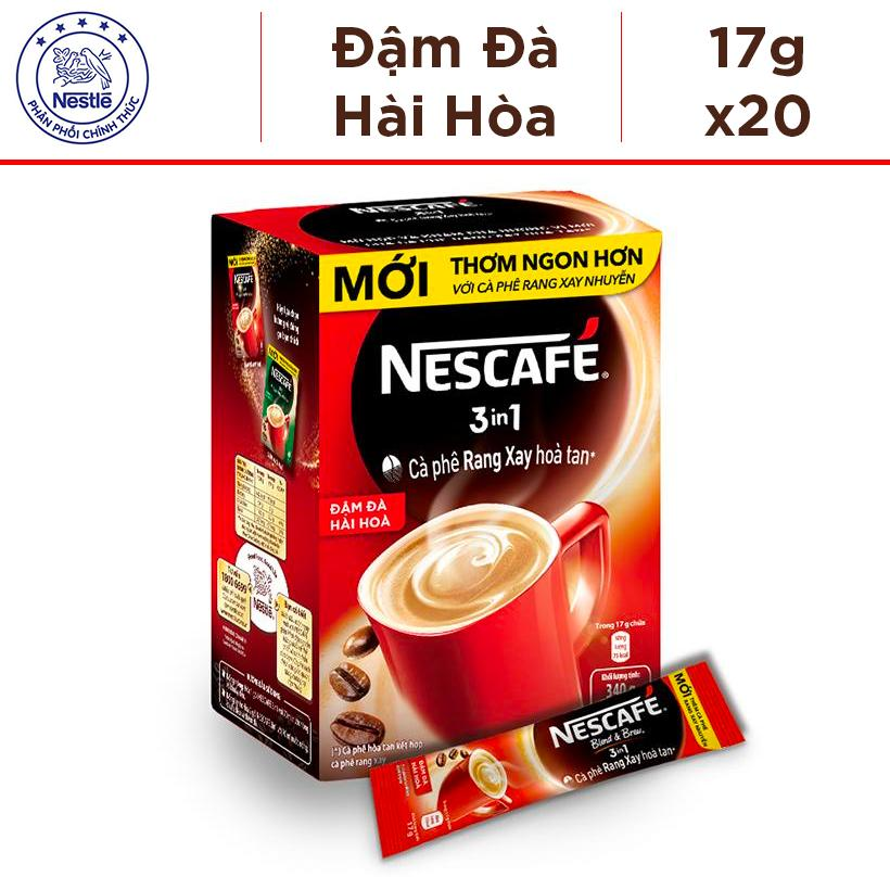 Hộp Nescafé 3in1 Rang xay hoà tan Đậm Đà Hài Hòa - 20 gói x 17g Nhật Bản