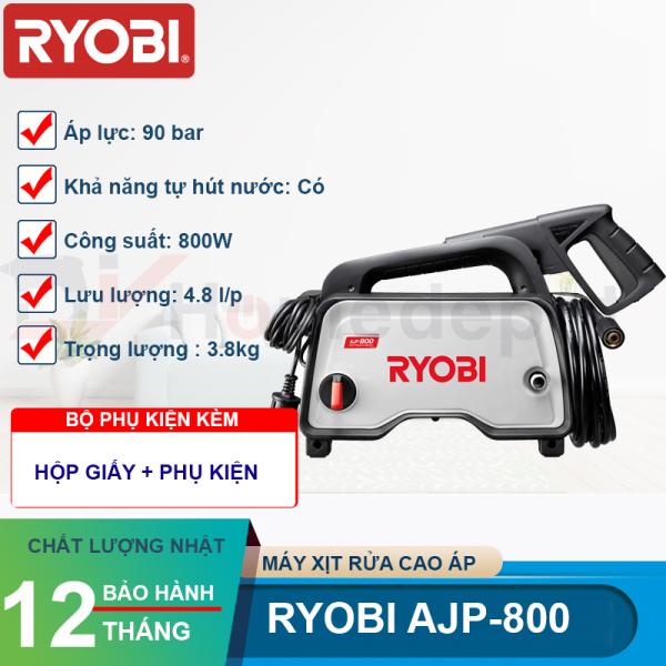 Máy Xịt Rửa Cao Áp Ryobi AJP-800 - Công Suất 800W - 90 Bar - Tự Hút Nước - Bảo Hành 12 Tháng - Hàng Chính Hãng