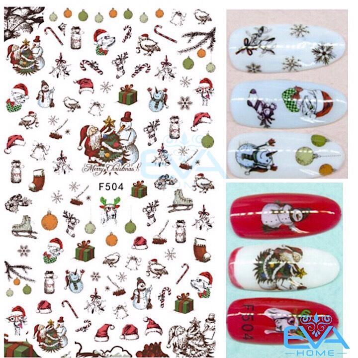 Miếng Dán Móng Tay 3D Nail Sticker Tráng Trí Noel Giáng Sinh F504 tốt nhất