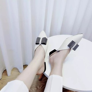 A27- Giày sục mũi nhọn nơ 2 cánh công chúa thumbnail