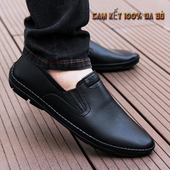 Giày lười nam giày mọi nam da bò mềm êm