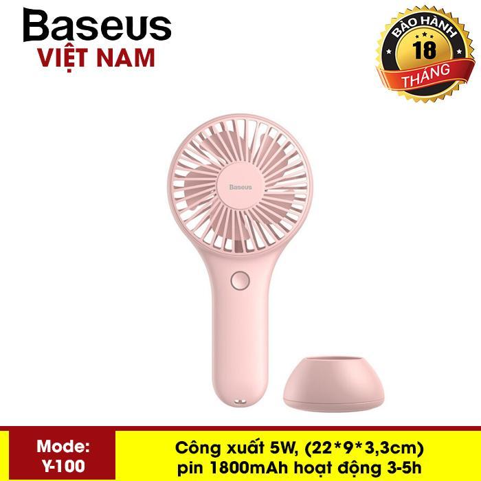 Quạt sạc tích điện Baseus Y100 Mini USB Fan Di Động để bàn hoặc Cầm Tay Pin bền 1800 mAH Tiện Dụng sử dụng đa năng trong nhà ngoài trời