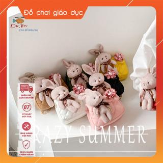 Túi đeo chéo gắn thỏ bông và nơ hồng mẫu mới, thời trang cho bé gái từ 4 tới 10 tuổi DrTOY 3