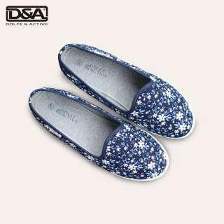 Giày slipon nữ D&A EPL1912 hoa nhí trắng xanh