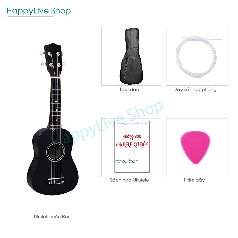 [HCM]Đàn Ukulele Soprano gỗ + Tặng 4 phụ kiện (Bao Sách Dây dự phòng Phím gảy) - HappyLive Shop (Nhiều màu)