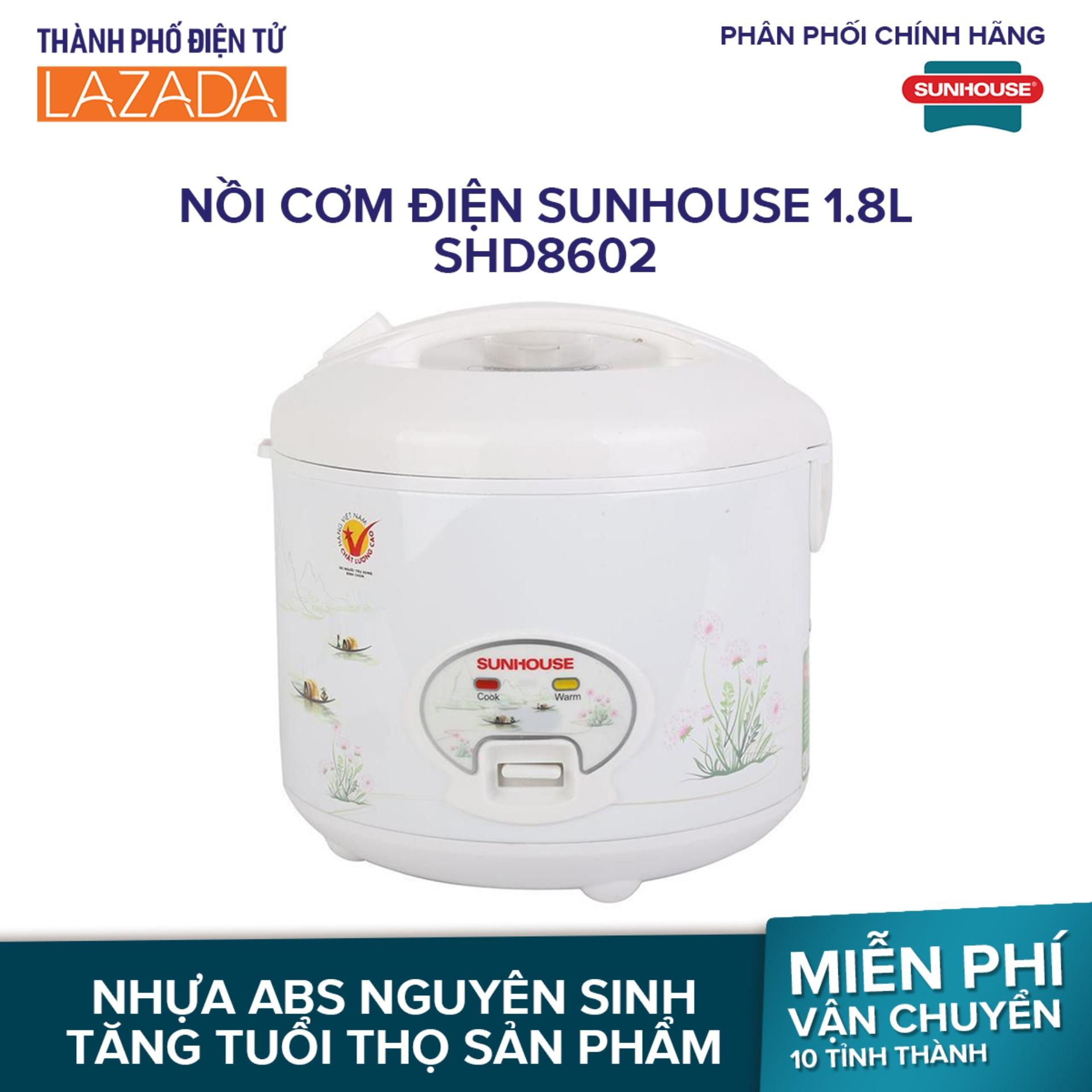 Nồi cơm điện Sunhouse 1.8L SHD8602 - thích hợp với nhu cầu sử dụng hàng ngày của những gia đình 4-6 thành viên - Hãng phân phối chính thức