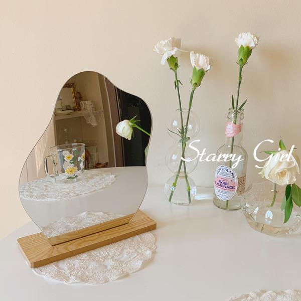 Gương trừu tượng, gương trang điểm, gương để bàn đế gỗ phong cách vintage - cutam.decor