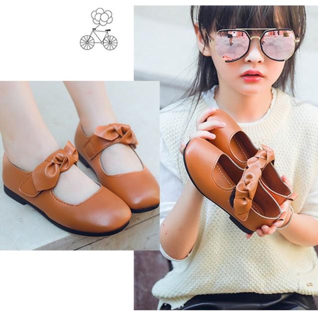 Giày Da Quai Dán Đính Nơ Phong Cách Hàn Quốc Cho Bé Gái Từ 2-18 Tuổi giá rẻ