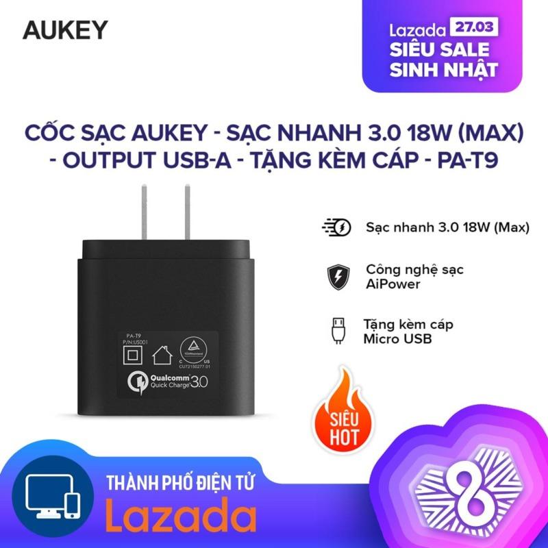 Giá [HÀNG CHÍNH HÃNG  -  24 THÁNG 1 ĐỔI 1] Cốc sạc Aukey l Sạc nhanh 3.0 18W ( Max ) l Output USB-A l Công nghệ sạc AiPower độc quyền l Tặng kèm cáp Micro USB l PA-T9