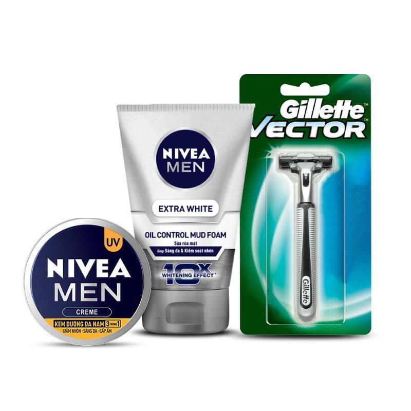 Bộ sản phẩm NIVEA MEN (Kem dưỡng 3in1 83923 30ml + Sữa rửa mặt bùn khoáng sáng da 81775 100g) + Tặng dao cạo Gillette cao cấp