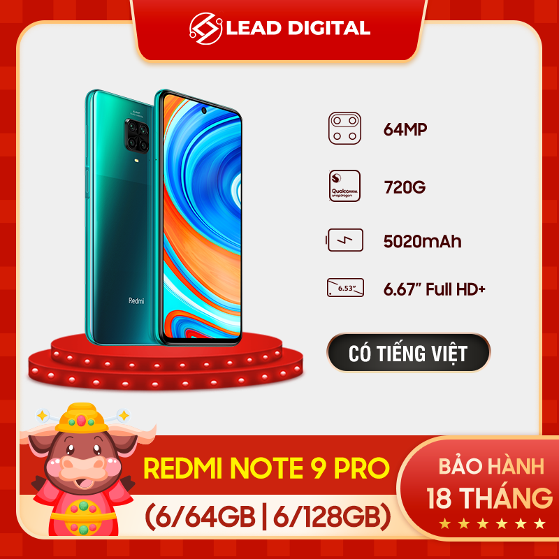 TRẢ GÓP 0%  [BẢN QUỐC TẾ] Điện thoại Xiaomi Redmi Note 9 PRO 6/64GB 6/128GB - Màn hình 6.67 FULL HD+, Snapdragon 720G 8 nhân, Camera chính 64 MP, Camera trước 16MP góc siêu rộng, pin 5020 mAh sạc nhanh 30W - BH Chính hãng 18 tháng