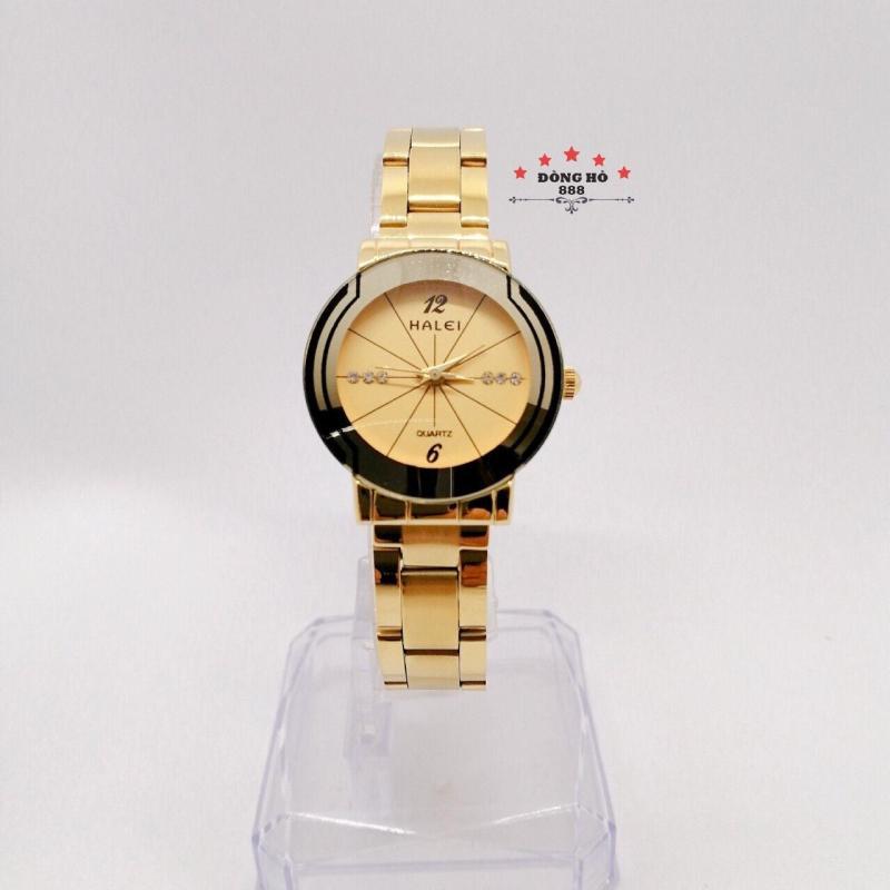 Đồng hồ nữ HALEI dây kim loại thời thượng ( HL457 dây vàng mặt vàng )