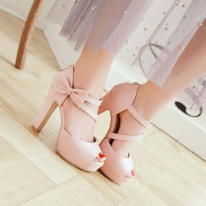 Giày cao gót nữ nơ xinh (Đen -Hồng) - CG54 giá rẻ