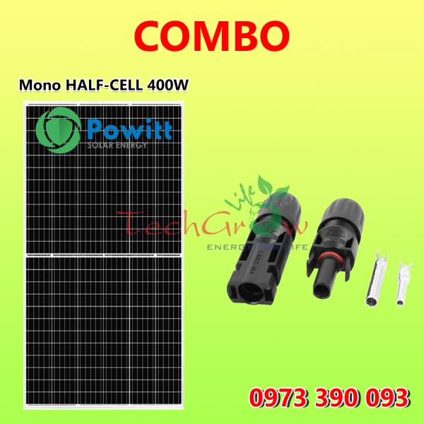 COMBO tấm pin Powitt Mono HALF-CELL 400W + Jack nối MC4