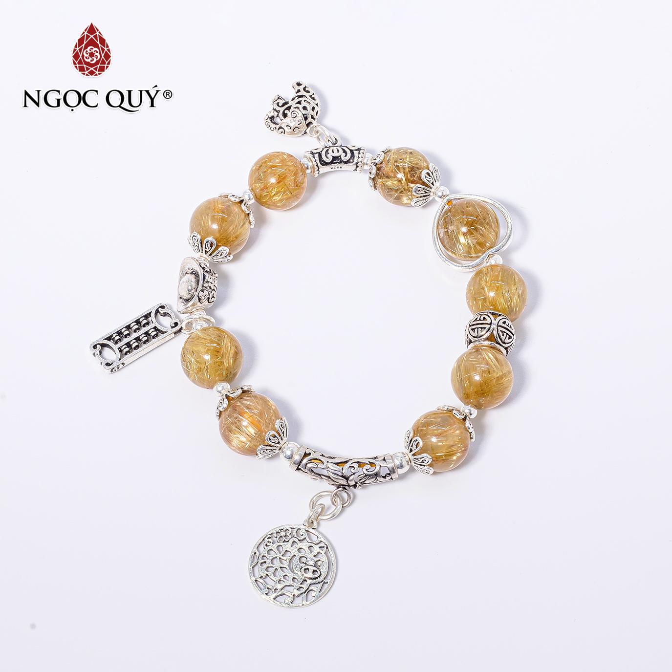 Vòng tay đá thạch anh tóc vàng AAA+ charm bạc 10mm mệnh thủy,kim (màu vàng) - Ngọc Quý Gemstones