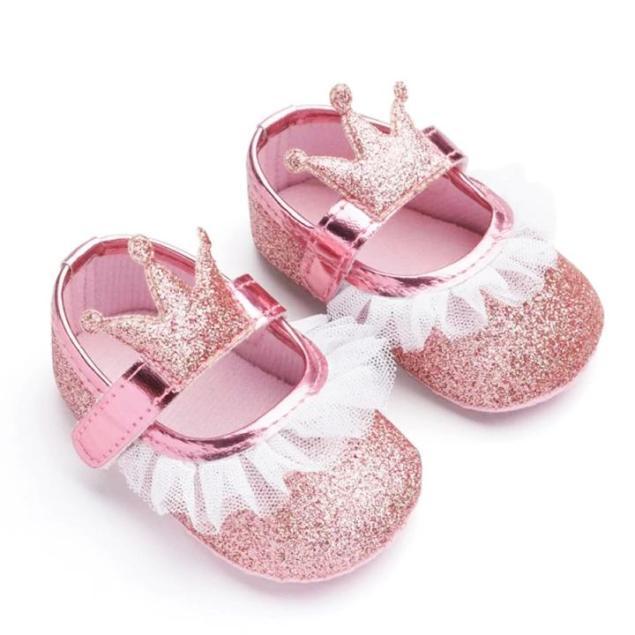Giày tập đi công chúa lấp lánh đính vương miện phối ren đế chống trơn trượt cho bé gái 0-18 tháng tuổi BBShine – TD23 giá rẻ
