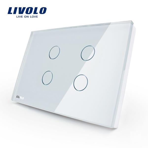 Livolo Powerswitch cảm ứng tiêu chuẩn Hoa Kỳ, công tắc đèn cảm ứng 3 gang, 4 gang, bảng kính, 110v-250V