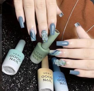 FREESHIP +QUÀ TẶNG) Móng tay giả giá rẻ nail thiết kế nailbox Móng úp tay móng tay giả màu thạch nude móng giả đính đá thumbnail