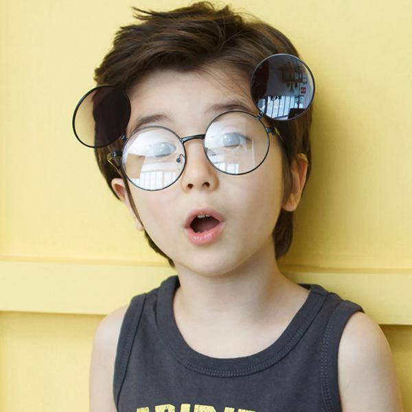 Mua Trẻ Em Trẻ Em Kính Clip Trên Kính Mát, Kính Mắt Lật Kim Loại Hình Tròn Cho Bé Trai Bé Gái, UV400