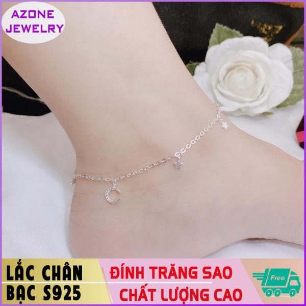 Lắc chân | Lắc chân bạc | Lắc chân nữ đính mặt trăng sao Bạc S925 [FREESHIP] Hàng đẹp Khóa móc dễ dàng tháo lắp và tùy chỉnh kích thước #AZLC004 - Azone Jewelry