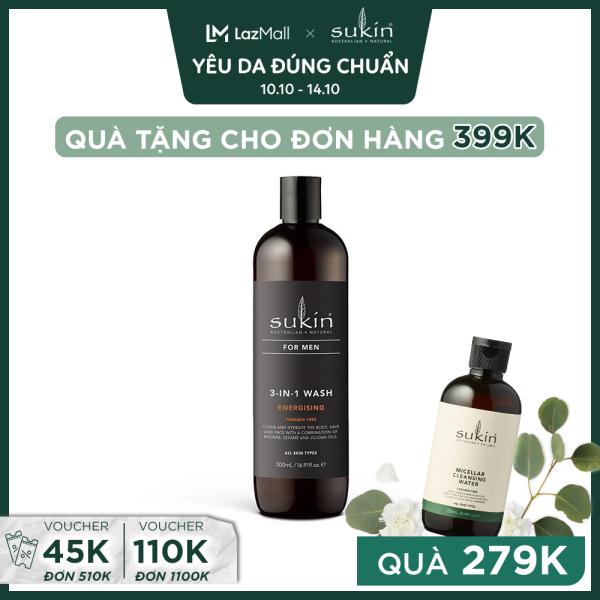 Sữa Tắm Hương Năng Động Cuốn Hút Dành Cho Nam Sukin 3 - in - 1 Wash Energising 500ml cao cấp