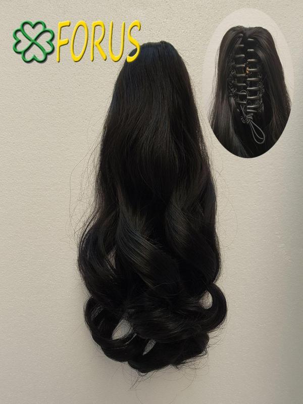 Tóc giả kẹp ngoạm N52 dài 36-38cm, màu [đen 2#] nhập khẩu