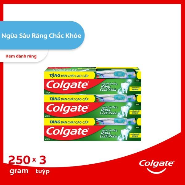 Bộ 3 kem đánh răng Colgate ngừa sâu răng răng chắc khỏe 250g/ tuýp tặng bàn chải lông tơ cao cấp Thái Lan cao cấp