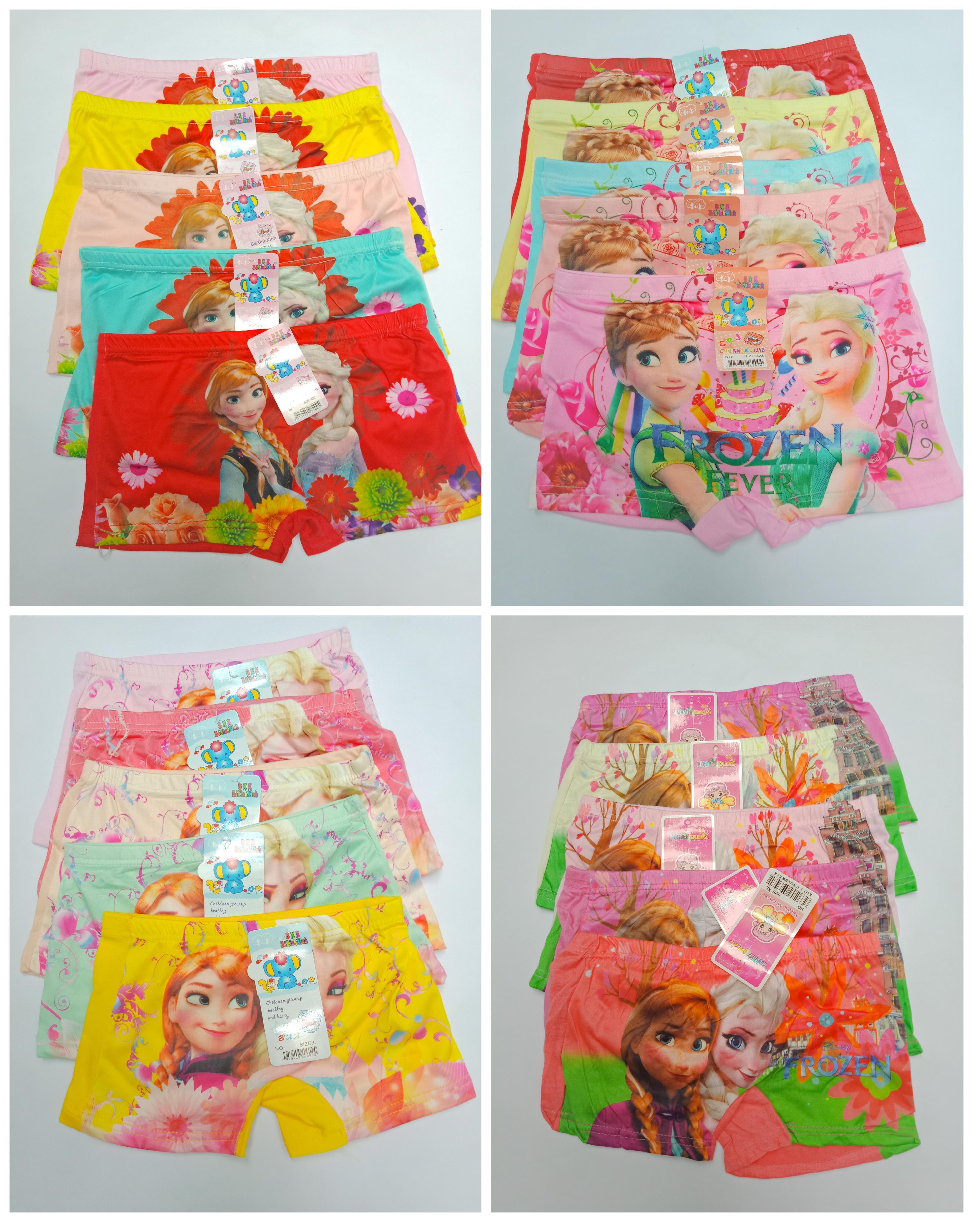 Giá bán Combo 10 quần chip đùi 3D in hình công chúa Elsa ( Dành cho bé từ 8-30ky xem bảng size phía dưới)