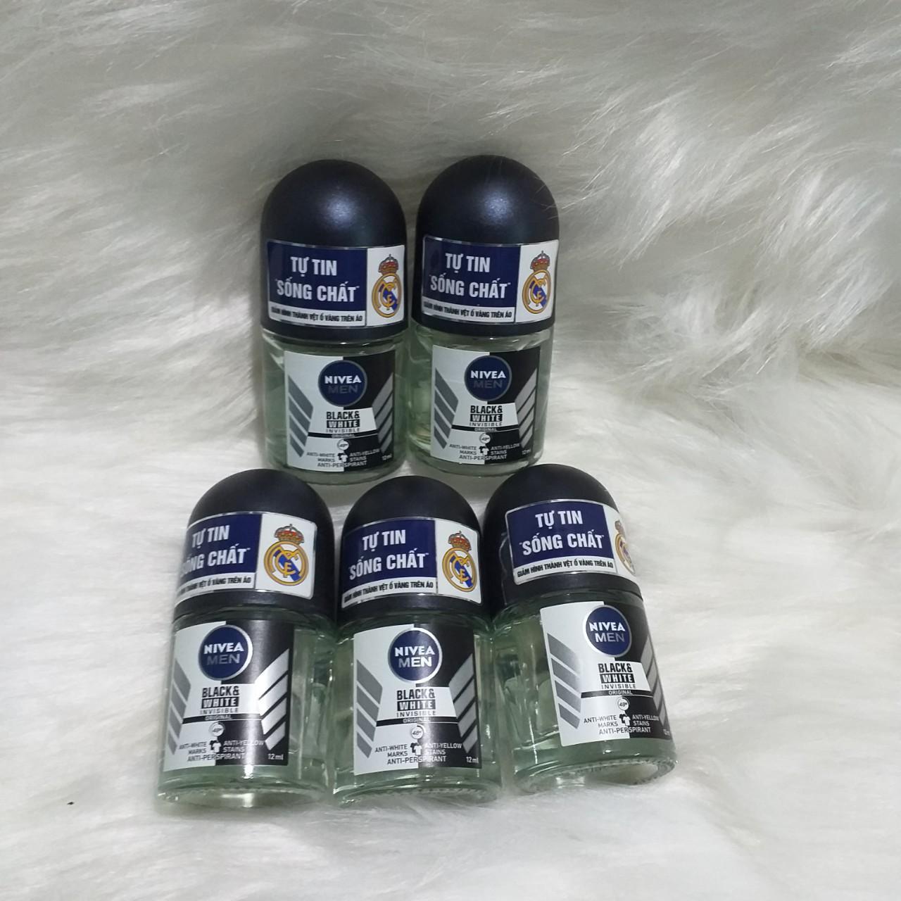 Combo 5 Lăn Khử Mùi Nivea Men Black & White (12ml/ chai) nhập khẩu