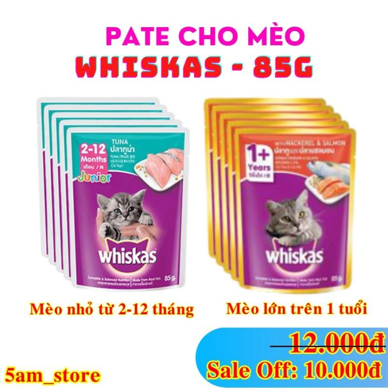 [Lấy mã giảm thêm 30%]Pate Whiskas ❤️ cho mèo lớn mèo nhỏ gói 85gr vị cá ngừ cá hồi date xa giá rẻ - Mèo nhỏ vị cá ngừ