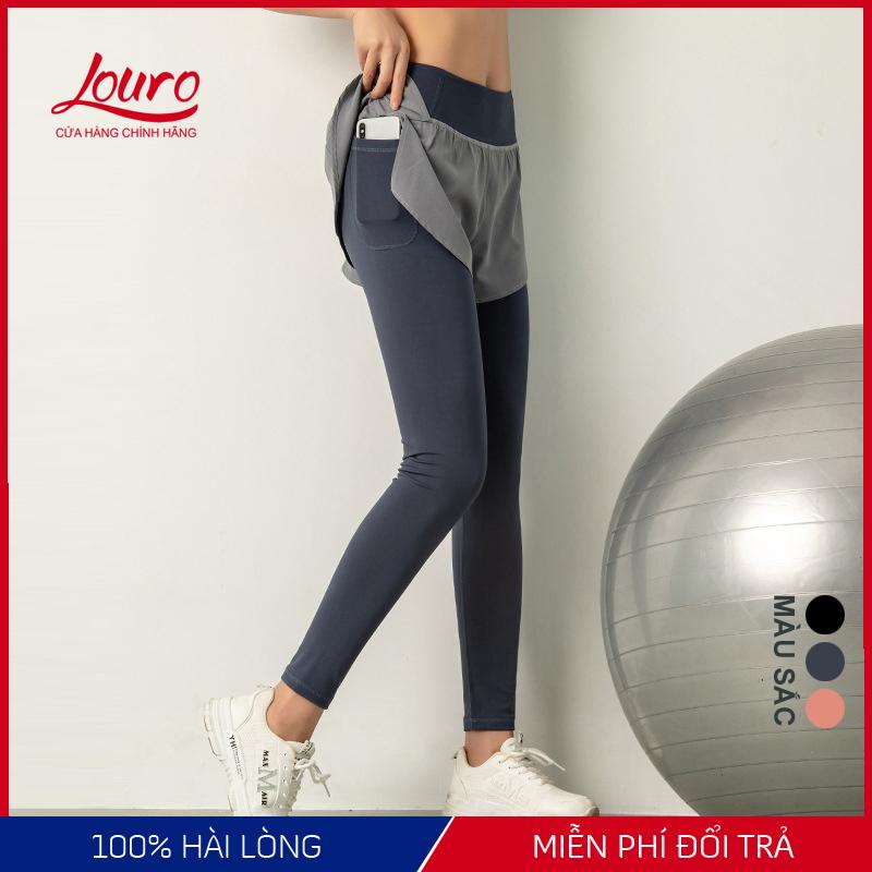 Đồ tập gym nữ Louro QL52, kiểu quần tập gym nữ có quần short liền, dễ kết hợp với quần áo tập gym, bộ tập gym nữ, đồ tập yoga, zumba, chất liệu thoáng mát, co giãn 4 chiều