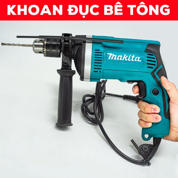[TẶNG MŨI KHOAN] Máy khoan cầm tay MAKITA HP1630 - Có búa - Khoan tường - Đục bê tông - Lõi đồng 100% - Khoan MAKITA 13mm tốc độ cao