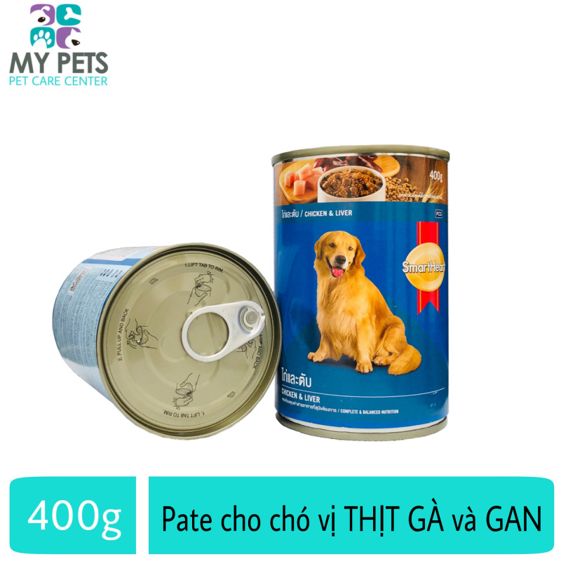 Thức Ăn Pate SmartHeart Hương Vị Thịt Gà & Gan Cho Chó Lớn - lon 400g
