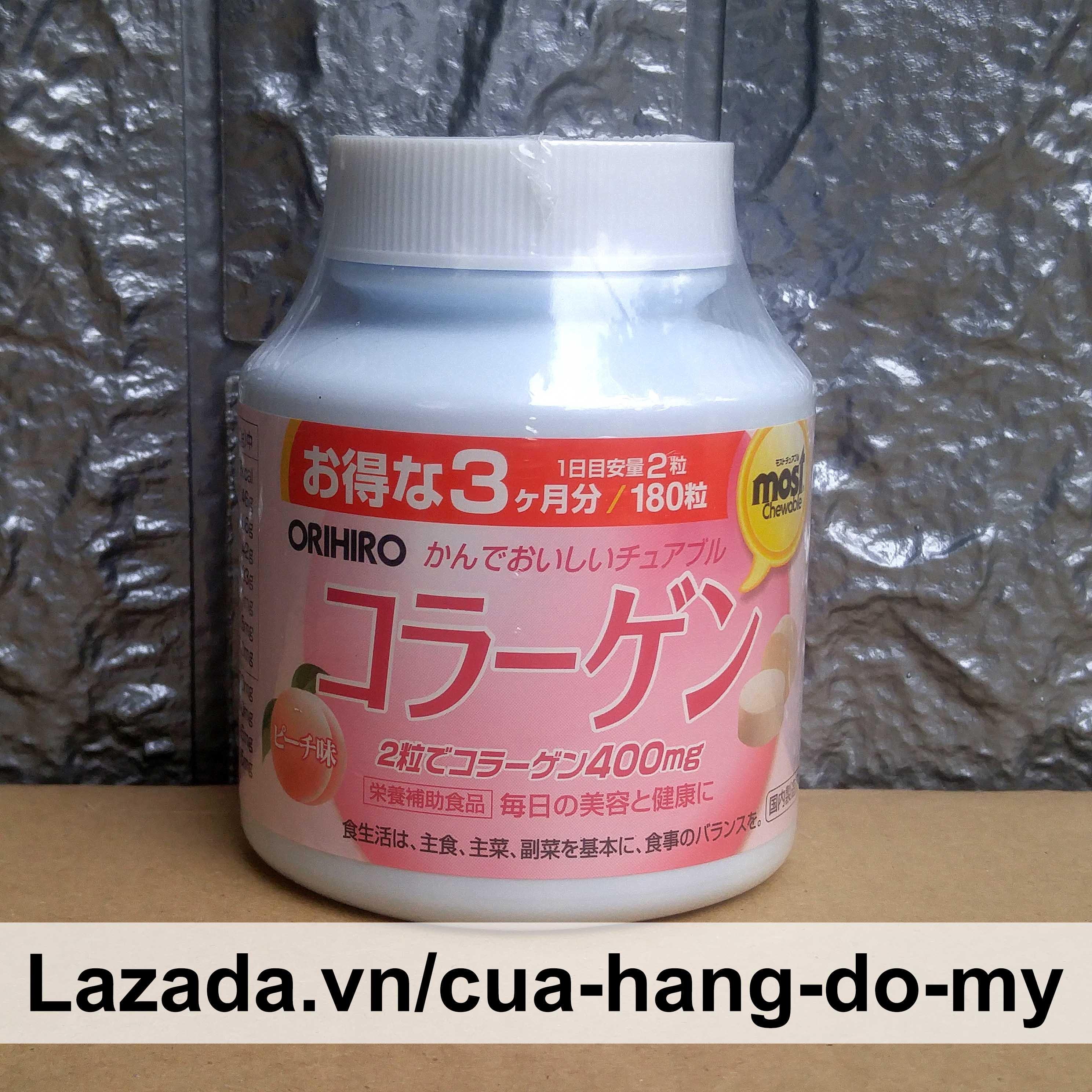 Viên ngậm nhai Collagen Orihiro 180 viên vị Đào dễ sử dụng cao cấp