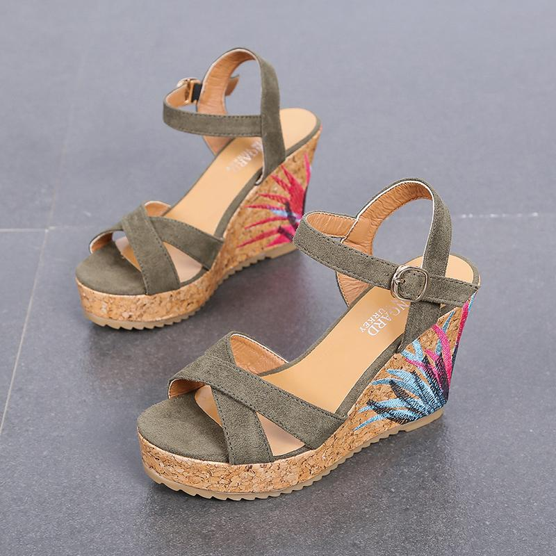 cf223d68975 Wedge Sandal Women High Heels Shoe Summer 2019 New Style Straight-line  Buckle Ribbonfish Mouth
