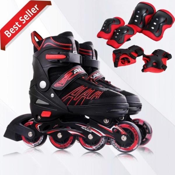 Mua Giày trượt Patin cao cấp 4 BÁNH SÁNG Papaison A3 Màu đen đỏ  TẶNG BẢO HỘ CHÂN TAY GỐI
