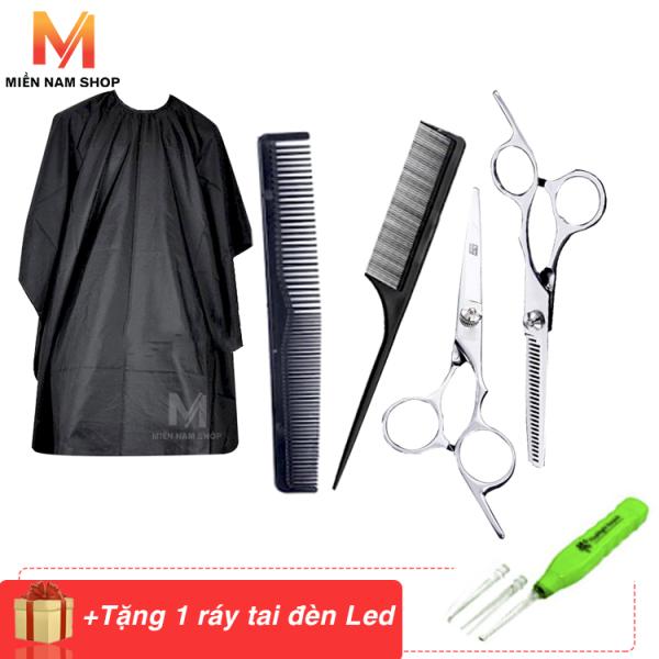 Kéo cắt tóc và tỉa tóc tặng 2 cây lược, áo choàng cắt tóc và ráy tai có đèn Led giá rẻ