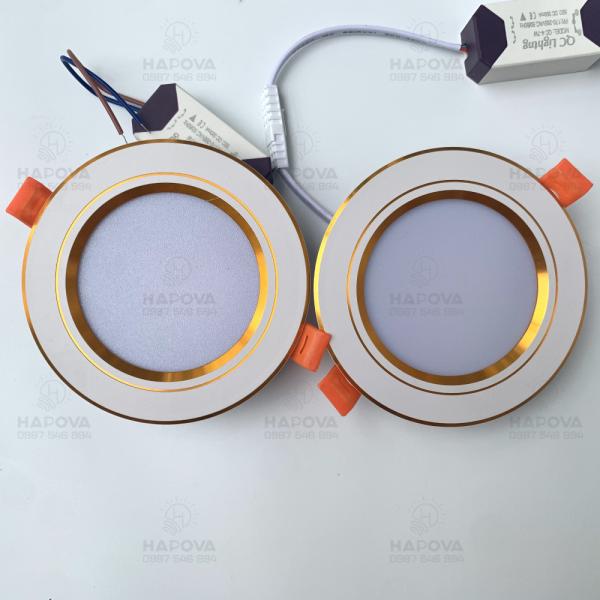 [SIÊU RẺ] Đèn LED âm trần đế tản nhiệt 3 chế độ màu,7w phi 90 viền vàng bạc AT 02