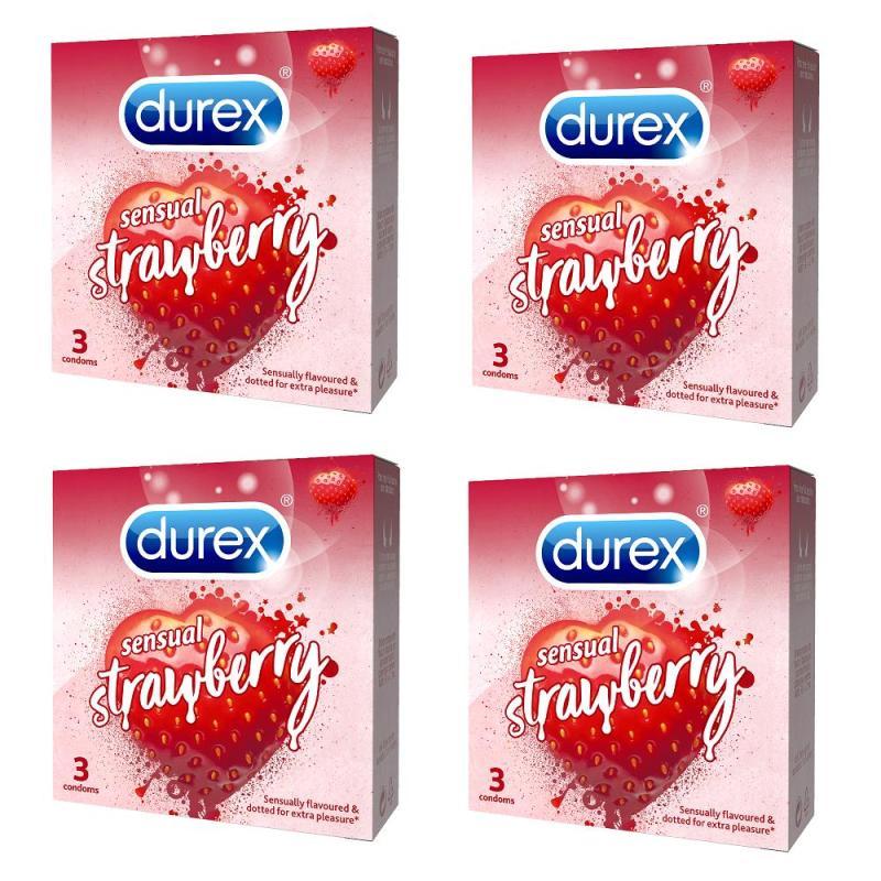 Bộ 4 Hộp Bao cao su Durex Sensual Strawberry 3 cái cao cấp