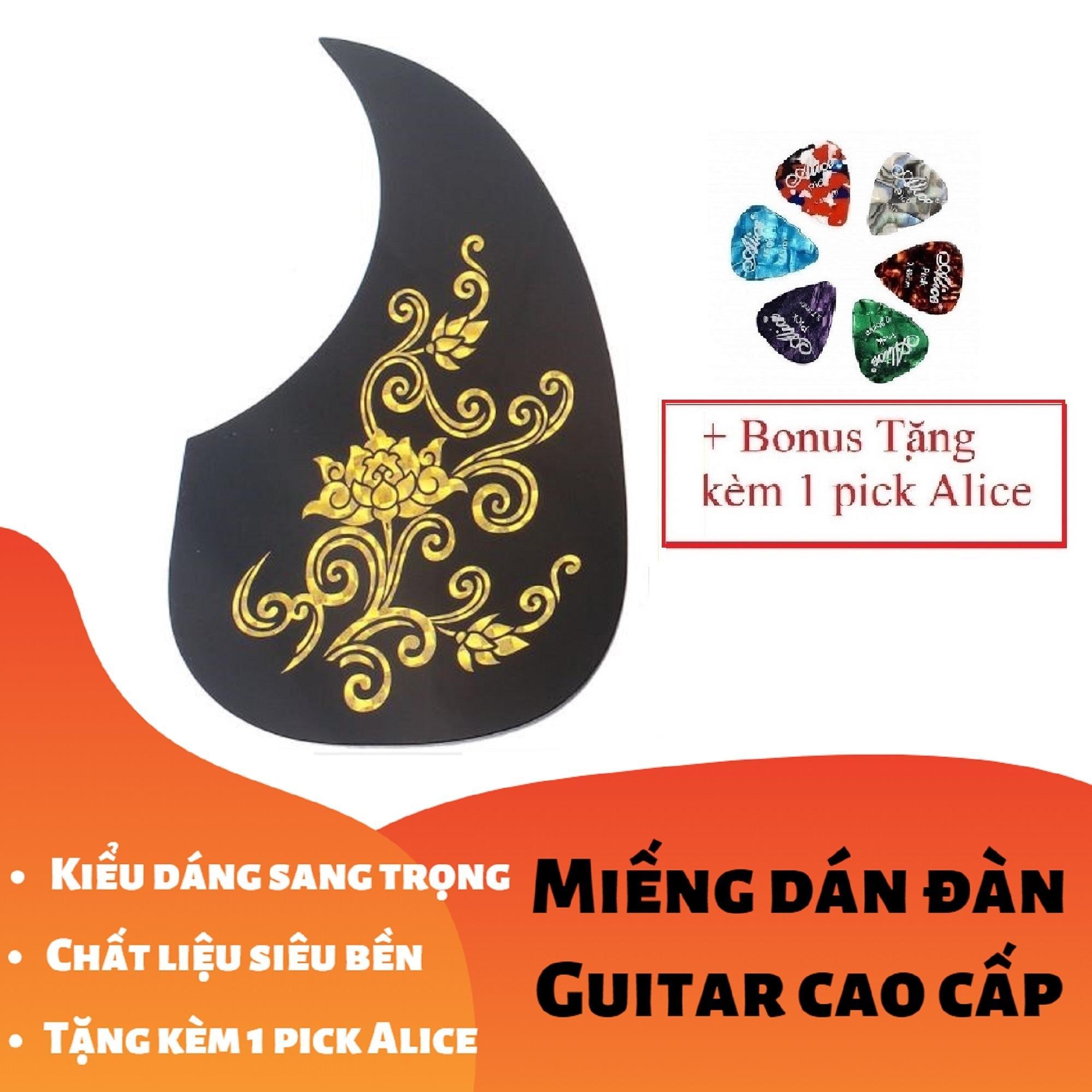 [RẺ GIẬT MÌNH] Miếng Dán Cao Cấp Trang Trí, Bảo Vệ đàn Ghi-ta 3D Hoa Sen Vàng Bạc (Guitar PickGuard) - Tặng Kèm 1 Pick Alice Giảm Giá Khủng