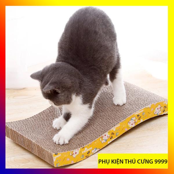 Bàn cào móng hình lượn sóng cho mèo - tặng cỏ catnip