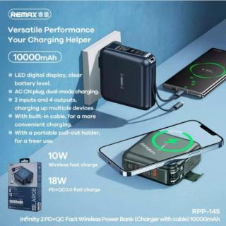Remax RPP-145 kết hợp hoàn hảo 3 In 1. Pin Sạc Dự Phòng + Sạc không dây cho Iphone 11-12 + Củ cắm sạc các dòng điện thoại. BẢO HÀNH 1 ĐỔI 1 CHỈ CÓ TẠI MINH CHÂU STORE thumbnail