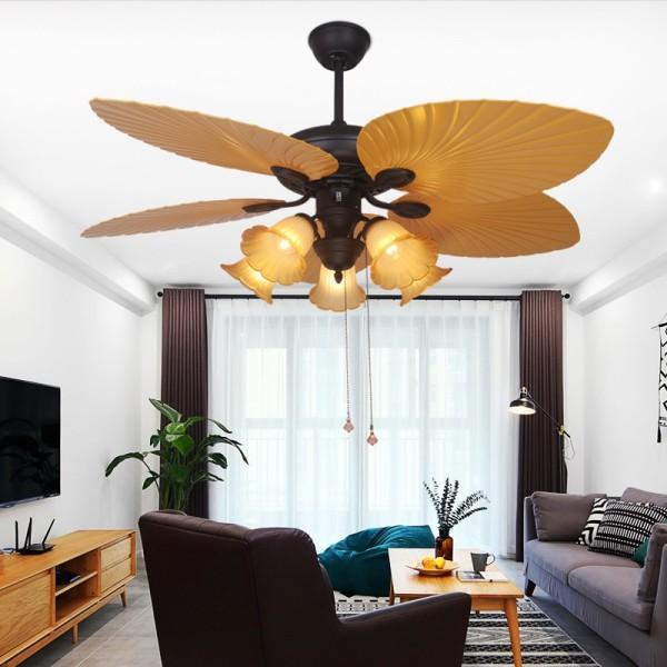 Quạt trần đèn cánh thẳng QTDG254 quạt trần có đèn siêu mát, quạt trần phòng khách