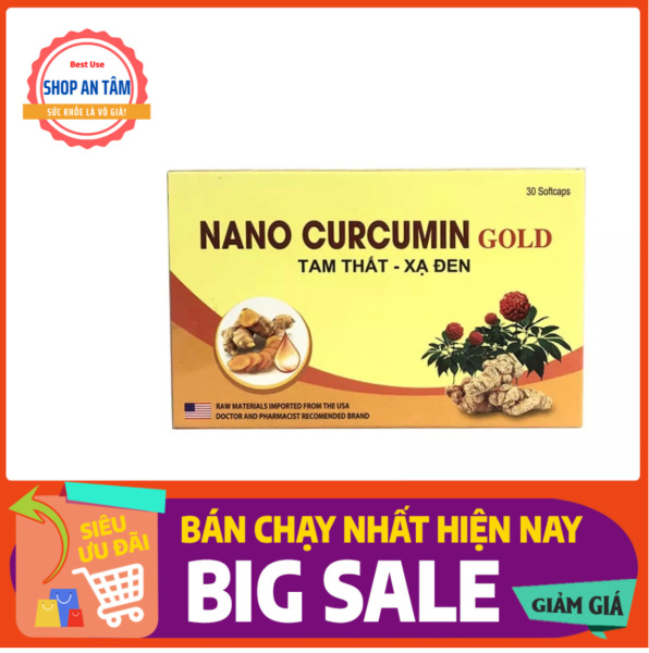 Nano Curcumin Gold - Giúp giảm các triệu chứng viêm loét dạ dày, tá tràng, thượng vị, hang vị (Hộp 30 viên) cao cấp