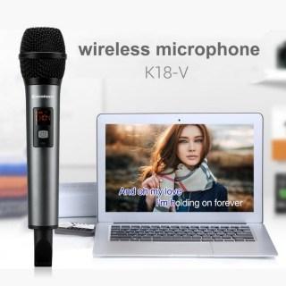 [ Hot Sale] Mic không dây Excelvan K18v, Micro Bluetooth Hát Karaoke Không Dây Kết Nối Loa Di Động, Loa Oto, loa bluetooth, tivi,..dàn karaoke di động, chống ồn, chống nhiễu, hú rít, mic karaoke chuyên dụng thuyết trình VHF... thumbnail