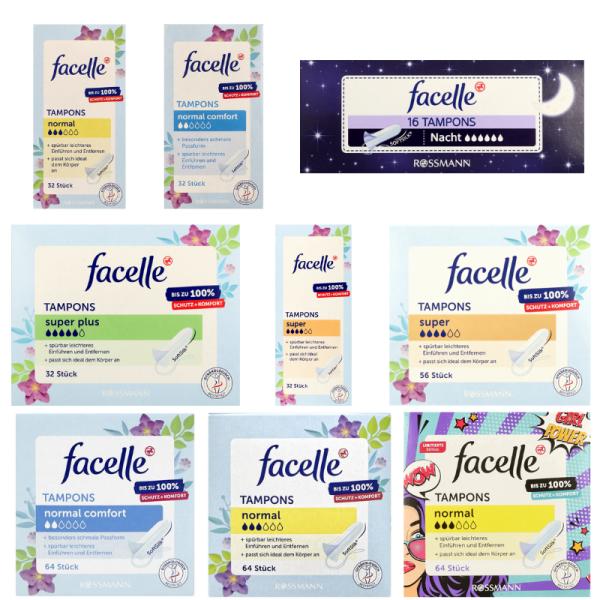 Tampon Facelle - Băng vệ sinh Tampon Facelle Đủ Size - Băng vệ sinh dạng nút chai - Nội địa Đức giá rẻ