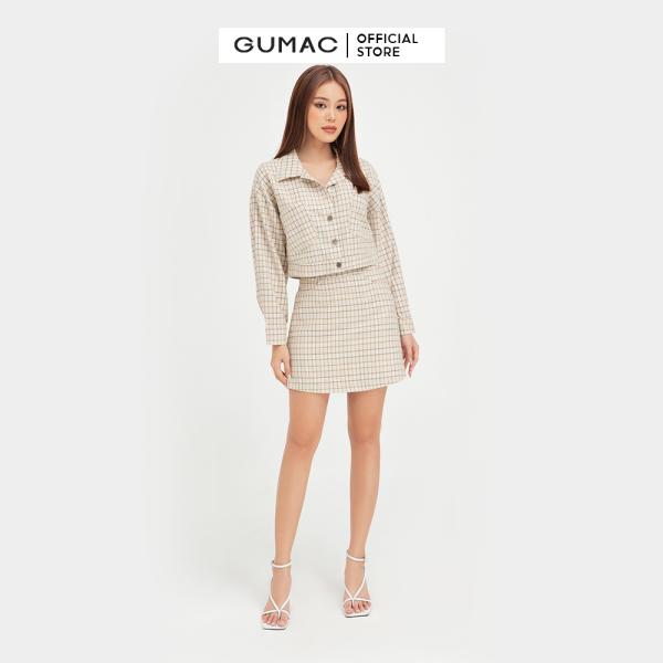Nơi bán Chân váy nữ đẹp thiết kế  caro thời trang GUMAC mẫu mới VB432