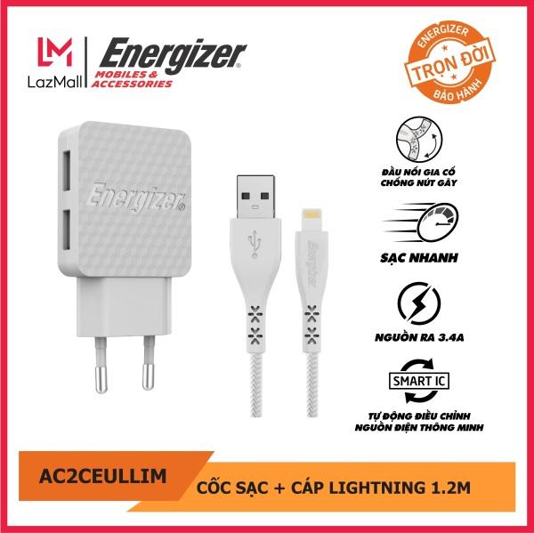 Sạc Energizer 3.4A 2 Cổng USB màu trắng, kèm cáp lightning - AC2CEULLIM. Bảo hành trọn đời. Hàng chính hãng