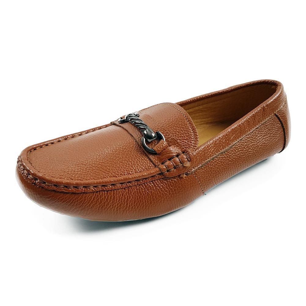Giày Lười Cho Bé Trai Da Bò Thật Siêu Mềm Siêu Bền Evelynv BY05LP Vàng)